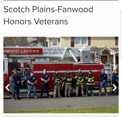 Members of the Fanwood Fire Department at the Veterans Day Ceremony at Fanwood Library