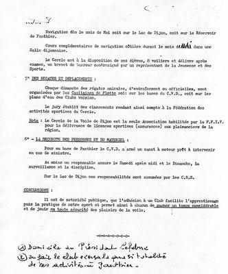Les statuts de 1963 pour la fondation du club (2/2)