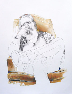 Kevin (Portrait of Kevin Ratterman), Graphite and Oil on Paper, 24 x 18 inches, 2014