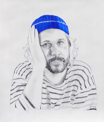 Self Portrait Series (with Papy's Blue Knit Cap) #4, Graphite and Oil on Paper, 24 x 18 inches, 2014