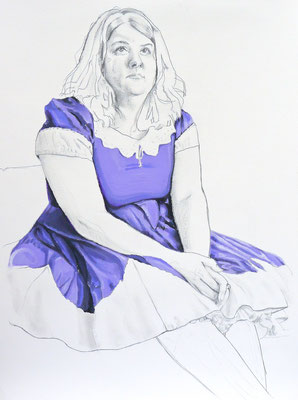 Cynthia as Ninnie, Graphite and Oil on Paper, 24 x 18 inches, 2015