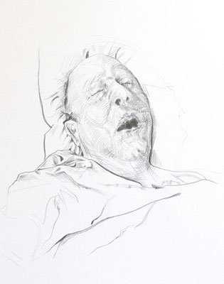 Papy #2 (Last Sickness), Graphite on Paper, 20 x 16 inches, 2012