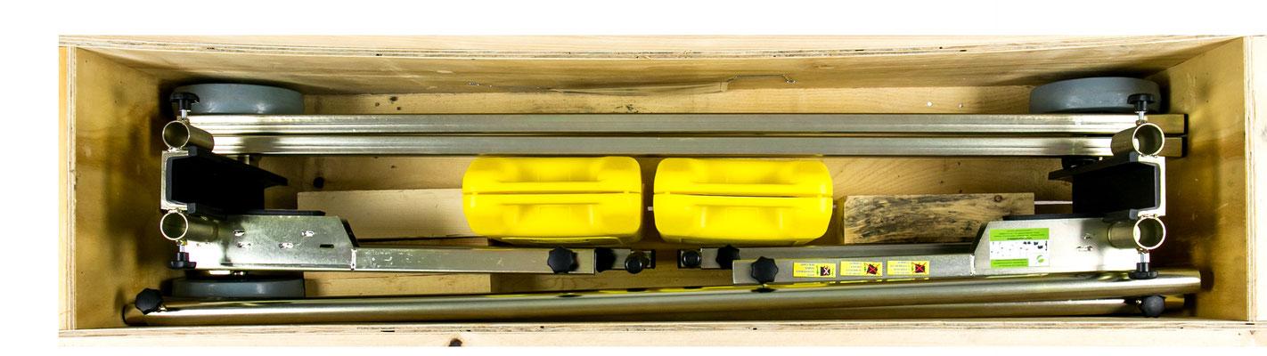 Lieferung in hochwertiger Transport-Holzkiste im Wert von 80,00 € transportsolution UG Glastransportwagen