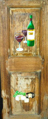Oil on antic wooden door