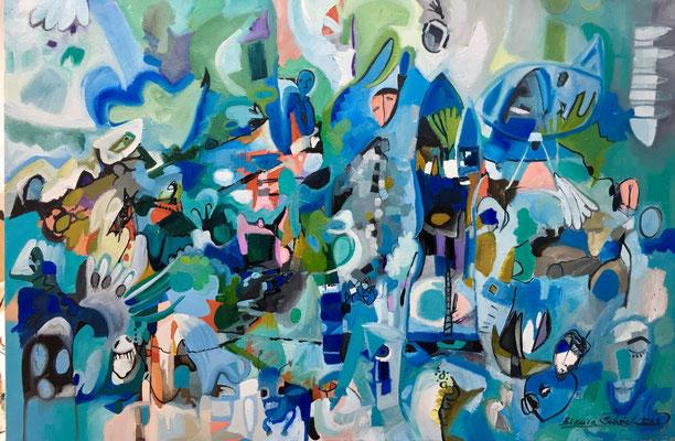 """(c) Bianca Scheich, """"Träume aus dem Meer"""", Öl auf Leinwand, 80 x 120 cm, 2019, schwarze Schattenfuge"""