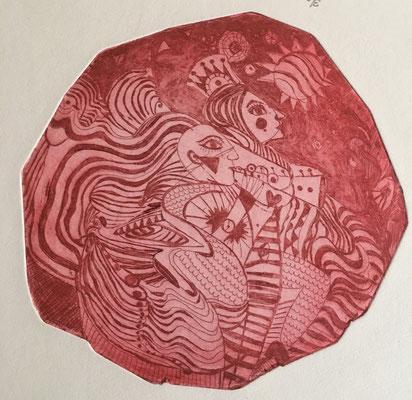 (c) Bianca Scheich, Radierung, Das Feuerpaar, 40 x 60 cm, 2019