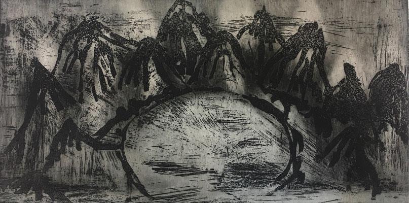 (c) Bianca Scheich, Radierung, 50 x 60 cm, Schwarze Berge II, 2021