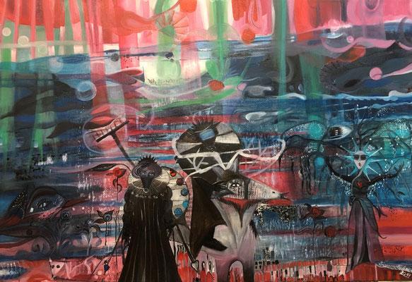 (c) Bianca Scheich, Frau und Mann am Meer, Ölgemälde 2020, 70 x 100 cm