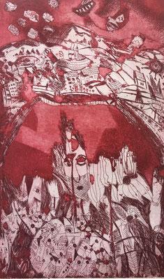 (c) Bianca Scheich, Radierung, Roter Taunus, 50 x 70 cm, 2020