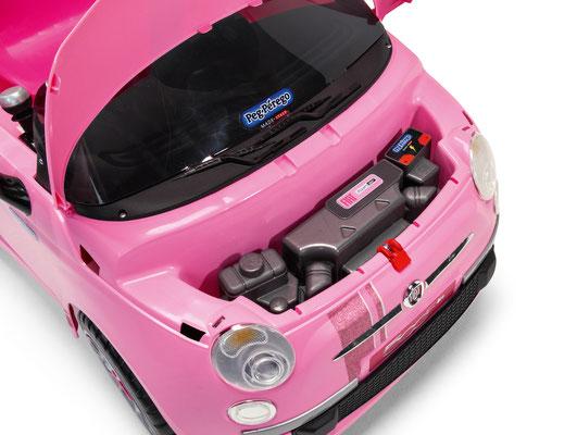 fiat 500 star pink spielfahrzeug elektroauto detail motorraum