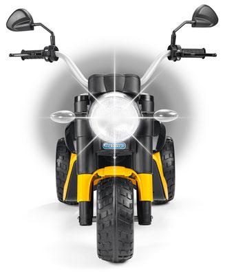 scrambler ducati elektromotorrad spielfahrzeug detail scheinwerfer