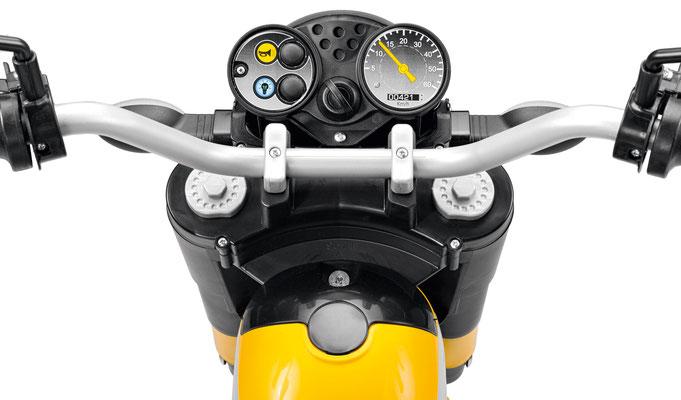 scrambler ducati elektromotorrad spielfahrzeug detail armatur