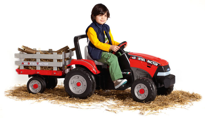 maxi diesel tractor mit anhänger tretfahrzeug spielfahrzeug in betrieb