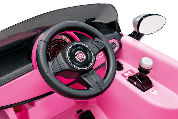 fiat 500 star pink spielfahrzeug elektroauto detail lenkrad