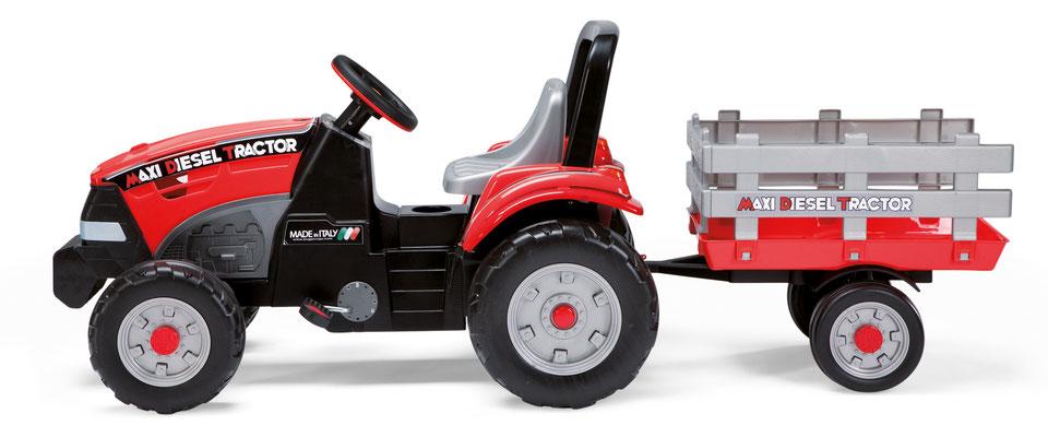 maxi diesel tractor mit anhänger tretfahrzeug spielfahrzeug seite
