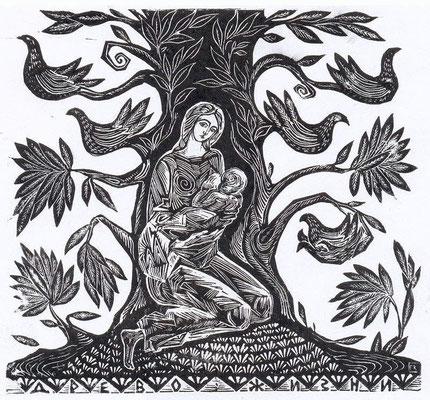 4. Древо жизни, линогравюра, 1970