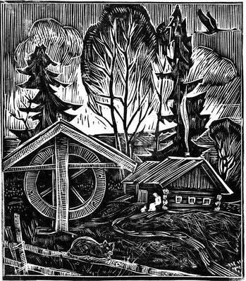 9. Родина У.И. Бабкиной, линогравюра, 1975