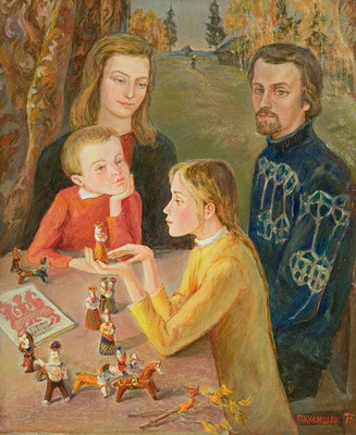 6. Семейный портрет оргалит, м. 58х48, 1973