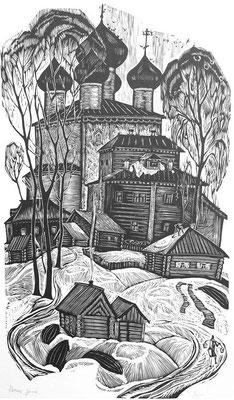 12. Конец зимы, линогравюра 52х32, 1979