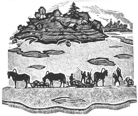 11. Лед рубят, линогравюра 51х60, 1967