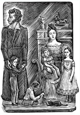 1. Пушкин с семьей, линогравюра, 1985