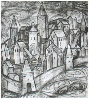 13. Старая крепость, б.уголь 90х85, 1971