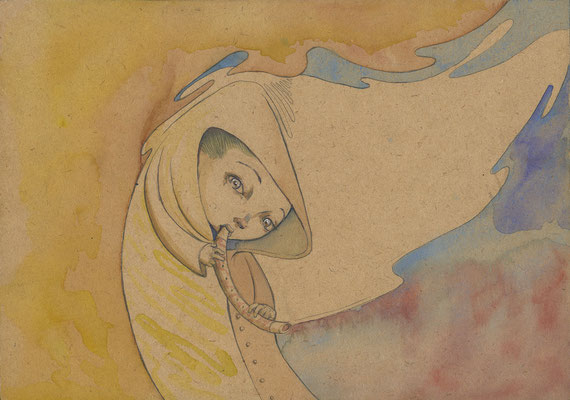 """Flauta"" Watercolour on woodpanel"
