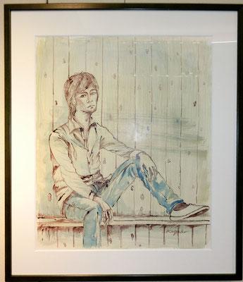 ジーンズの少年(水彩画)塩谷和子