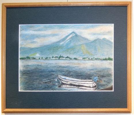 初夏の夕刻・天神浜(クレパス画)岡村進