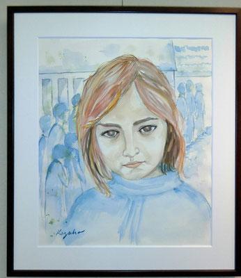 難民の少女(水彩画)塩谷和子