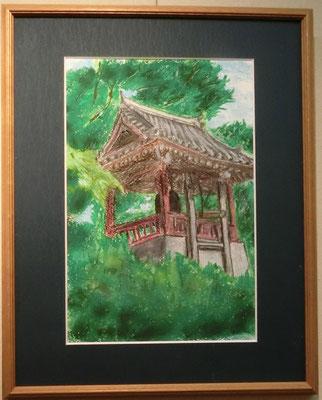 上野・鐘撞堂(クレパス画)岡村進