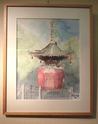 池上の多宝塔(水彩)松江剛三