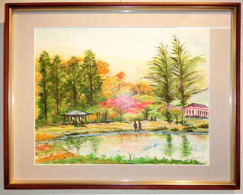 猪苗代亀ヶ城公園(水彩画)阿部亜夫