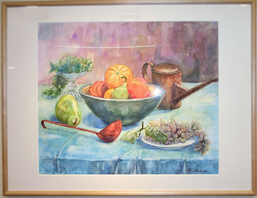 午後のテーブル(水彩画)長谷見廣治