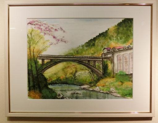 御嶽小橋(水彩)阿部亜夫