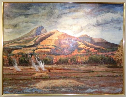 初冬の磐梯山(油彩画)大越靖彦