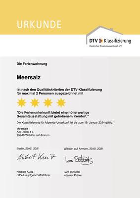 """4 Sterne Ferienwohnung """"Meersalz"""" - Klassifizierungsurkunde des DTV"""