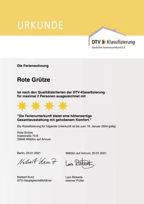 4 Sterne Ferienwohnung Rote Grütze - Klassifizierung des DTV