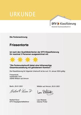 4 Sterne Ferienwohnung Friesentorte - Klassifizierung des DTV