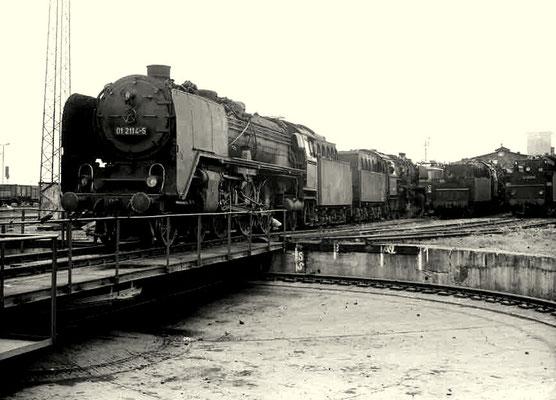 Lok 01 114 im Bw Halberstadt, Mai 1980