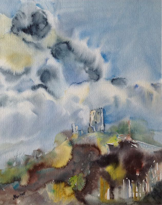 """Drachenburg"" - Aquarell - 60 x 50 cm"