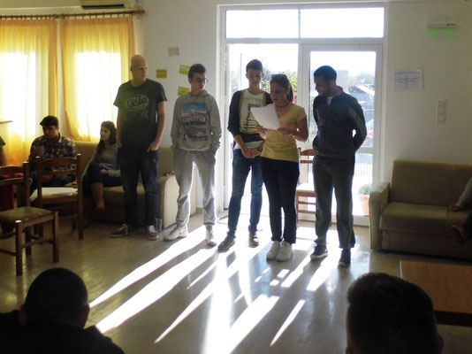 Participants presenting outcomes of their group work