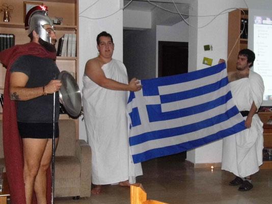 Greek team presenting Greek night