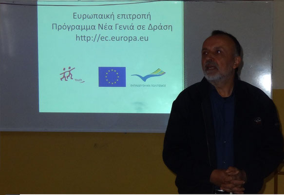 "Vice mayor of the area of Pogoni Ioannis Dallas participating in our seminar ""Volunteerism as a tool to develop rural areas"" in high school of Doliana"