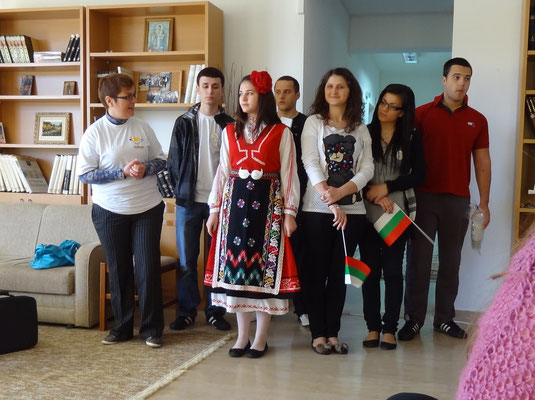 The group of participants from Bulgaria showing a traditional Bulgarian costume