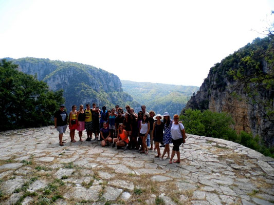 Group photo in Monodendri, at Vikos gorge