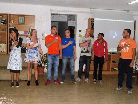 Dutch team presenting Dutch night