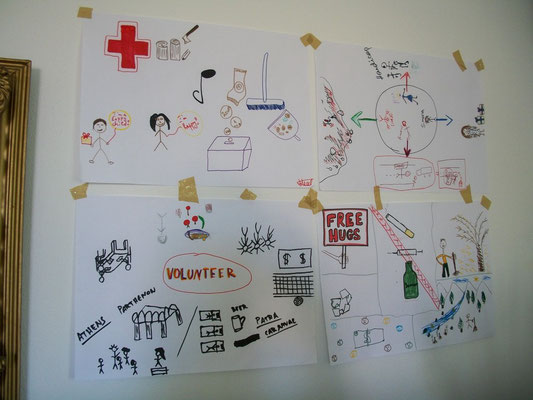 Posters about certain volunteerism actions done by participants