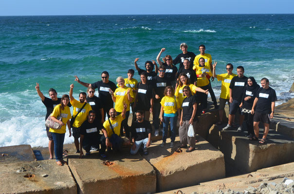 Group photo at the coast of Mediterranean sea