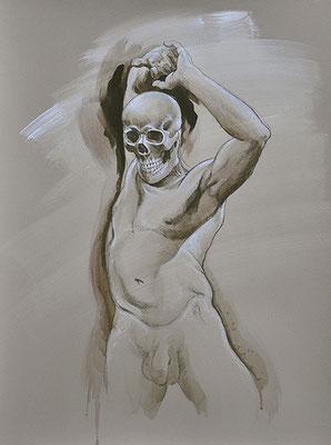 """F.Martin© Les anges déchus N°8 """"Danse macabre"""" - acrylique et pierre noire sur papier 65X50"""